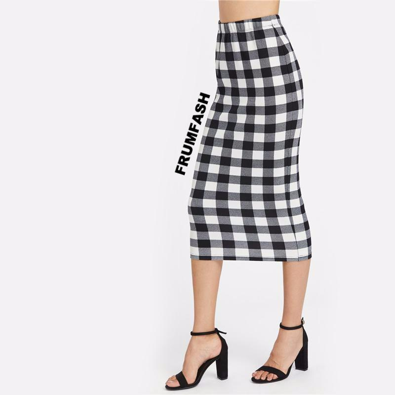 Black and White Gingham Pencil Midi Skirt