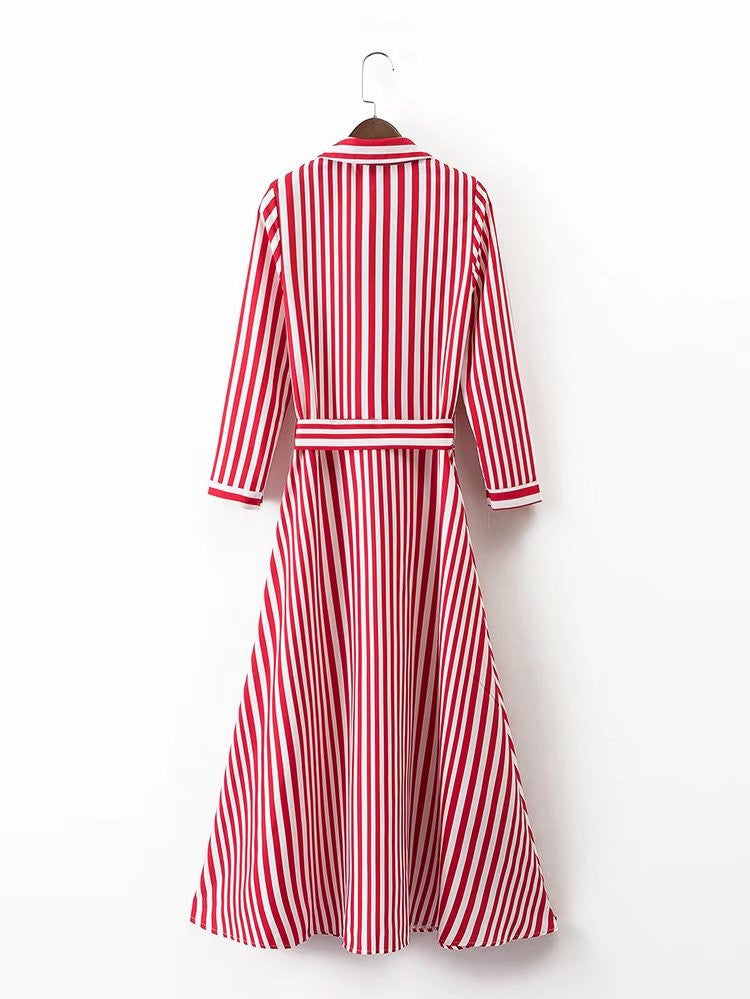 Fun Red and White Striped Midi Number