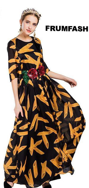 Fun Penne Print Stylish Dress with Belt Included