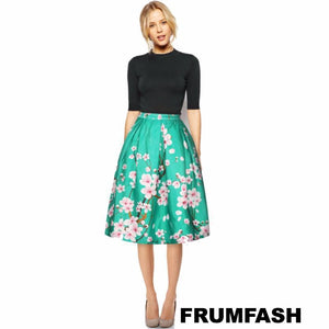 Asian Inspired Teal Knee A Line Length Skirt