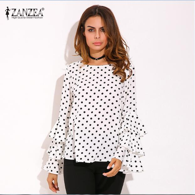 ZANZEA 2017 Spring Womens Flouncing Ruffled Long Sleeves Polka Dot Loose Casual Tops Blouse Shirt