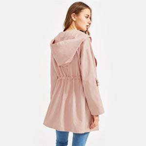 Pink Drawstring Waist Hooded Trenchcoat