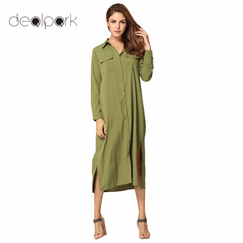 Autumn Long Sleeve Shirt Dress Women Midi Dress Casual Turn Down Collar Dress Buttons Pockets Loose One-piece Robe vestidos muje