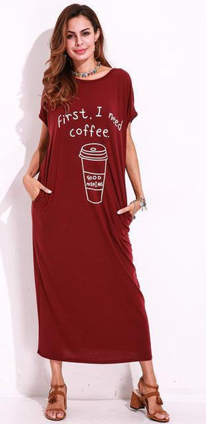 """First, Coffee"" Cute Cute Cute + Casual T-Shirt Dress"