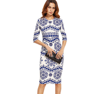 Fun Blue and White Patterned Midi Bodycon Dress