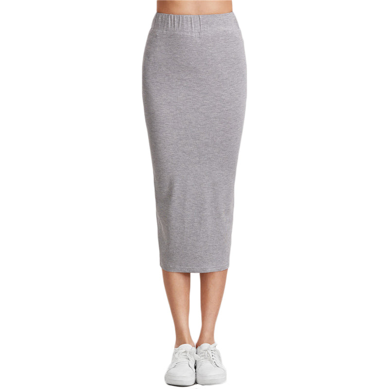 Heather Grey Cotton Pencil Skirt