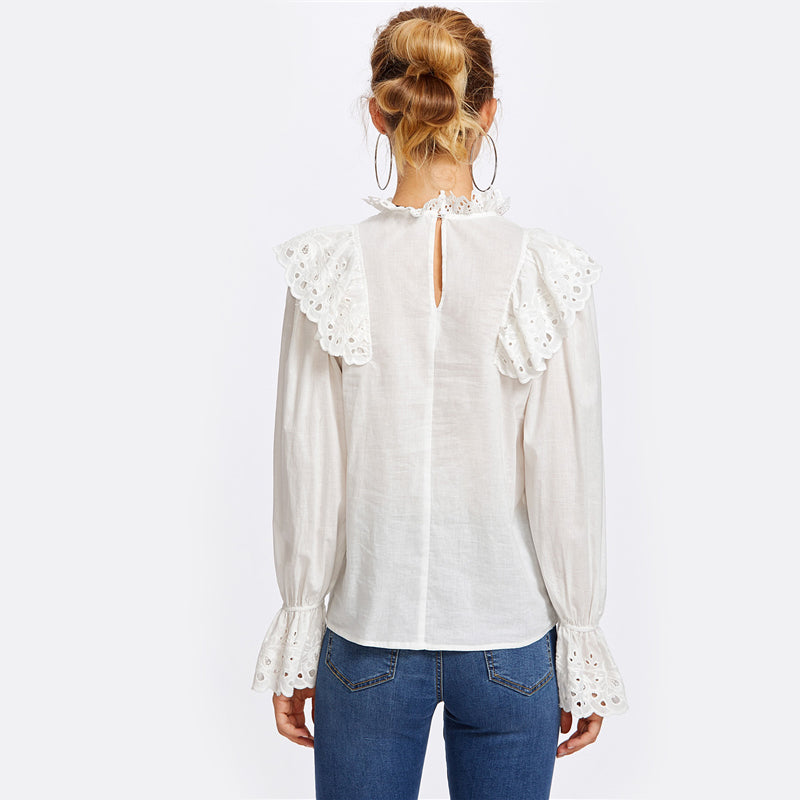 Embroidered Eyelet Bell Sleeve White Blouse