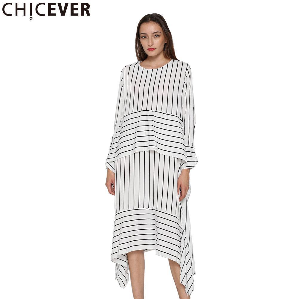 2aa2082d01b2 CHICEVER Striped Casual Dress Women Long Sleeve Midi Dresses Female Lace up  Bandage Asymmetrical Clothing Korean