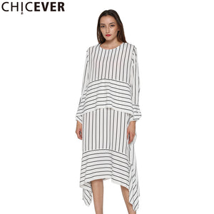 CHICEVER Striped Casual Dress Women Long Sleeve Midi Dresses Female Lace up Bandage Asymmetrical Clothing Korean Autumn 2017 New