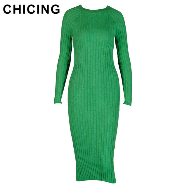 CHICING Women Fashion Knitted Solid Dresses Series 2017 High Street Bling Crew Neck Long Sleeve Bodycon Sexy Midi Dress A1709028