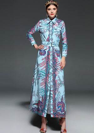 Exotic Print Button-Up Maxi - Blue Or Black