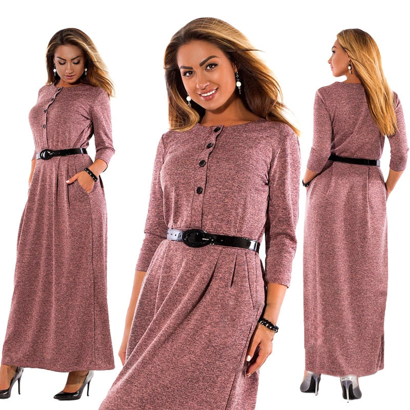 Long Sleeve Button Up Maxi Dress
