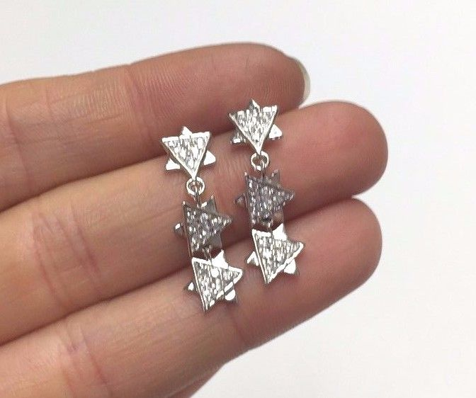 Sweet Sterling Silver 3 Jewish Star of David's Dangling Earrings with CZs