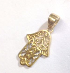 Sweet 14K Yellow White Gold Hamsa with Hearts Pendant for Necklace