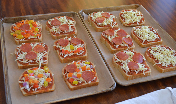 Topped slices for Father Time Pizza Toast