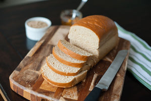 Delicious, freshly sliced organic whole grain bread