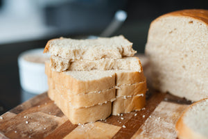 Moist honey whole wheat organic bread freshly sliced