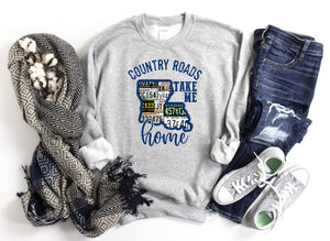 Country Roads Take Me Home LA License Plate Sweatshirt or Printed Tee