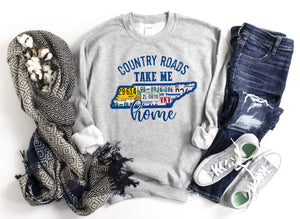 Country Roads Take Me Home TN License Plate Sweatshirt or Printed Tee