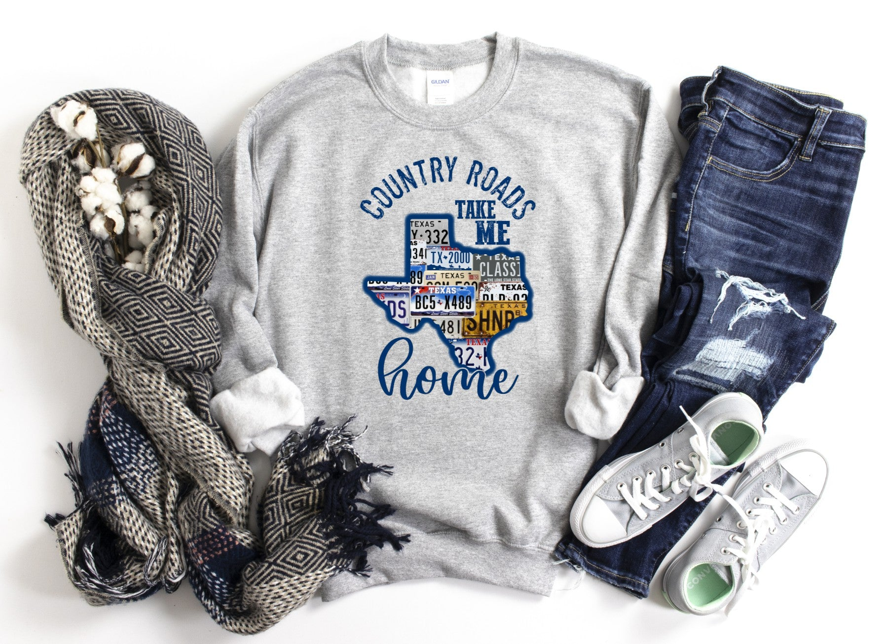 Country Roads Take Me Home TX License Plate Sweatshirt or Printed Tee