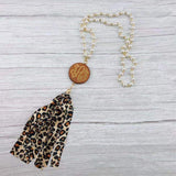 Wholesale Wooden Disc Necklace - PEARL