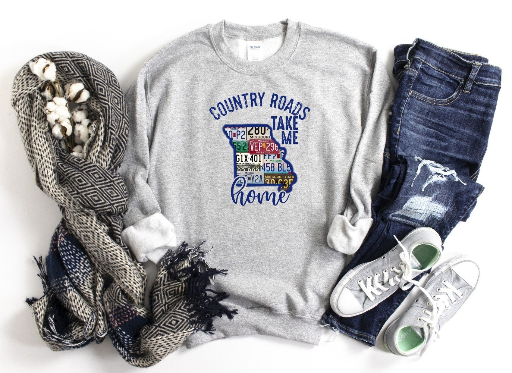 Country Roads Take Me Home MO License Plate Sweatshirt or Printed Tee
