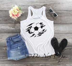 Distressed Slashed Soccer Screen Print