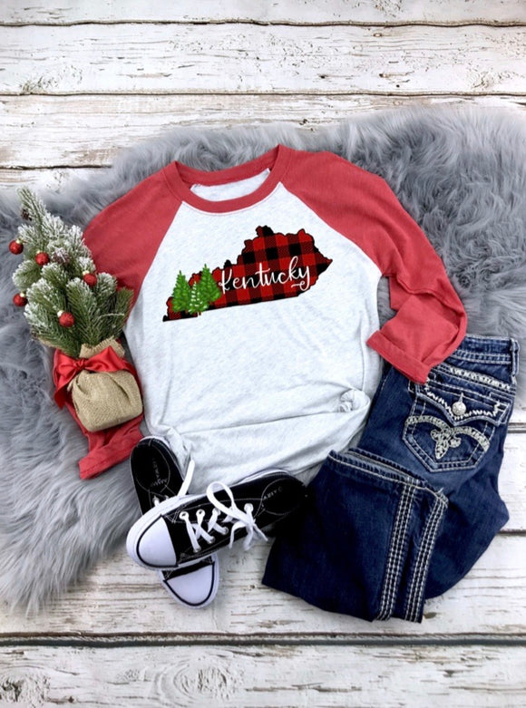 Buffalo Plaid KY Raglan Printed Tee