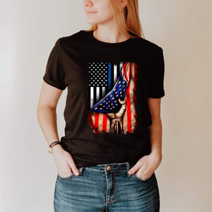 Thin Blue Line American Flag Printed Tee