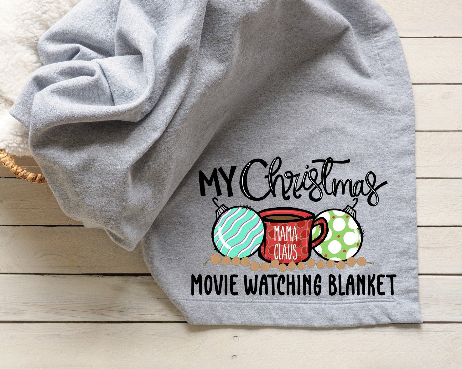 Mama Claus Christmas Movie Watching Blanket Printed Tee Blanket