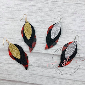 Leather Tear Drop Earrings