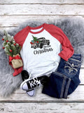 Buffalo Plaid Truck Raglan Printed Tee