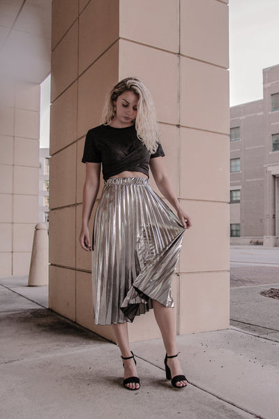 Wrap Tie Tee and Metallic Pleated Skirt