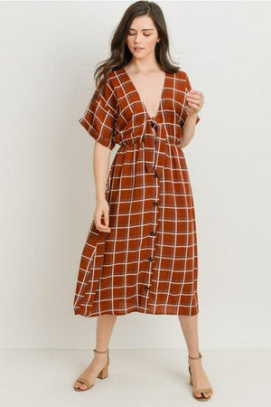 Front Tie Windowpane Dress