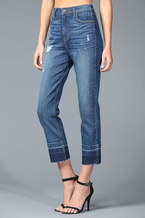 Two Tone High Rise Straight Crop Jeans