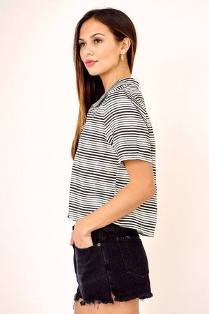 Striped Boyfriend Collar Top
