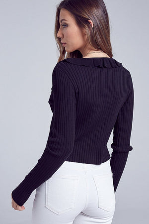 Front Tie Sweater Top