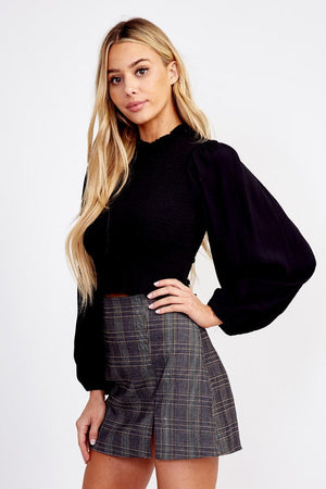 Charcoal Smocked Puff Sleeve Top