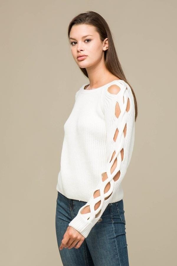 White Criss Cross Sleeves Woven Sweater Top