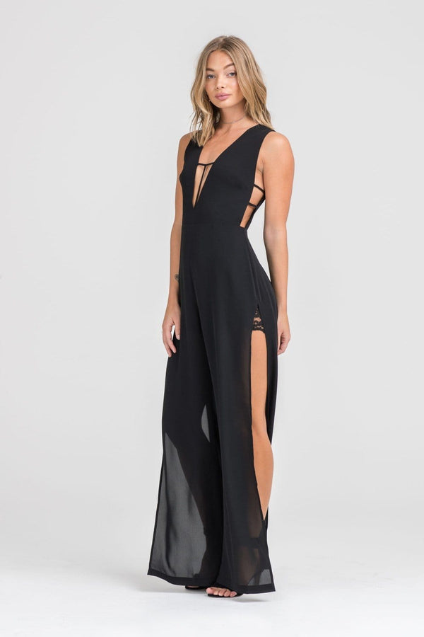 Black Side Cut Out Jumpsuit with Plunging Neckline