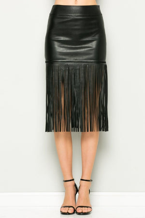 Fringe Leather Skirt