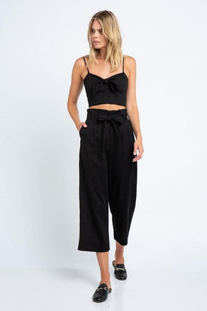 Front Tied Linen Crop Top