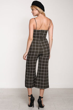 Olive Grid Cropped Wide Leg Jumpsuit