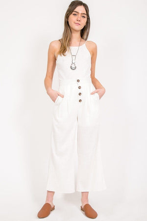 White Linen Cropped Pants