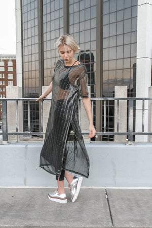Metallic Sheer Side Slit Top
