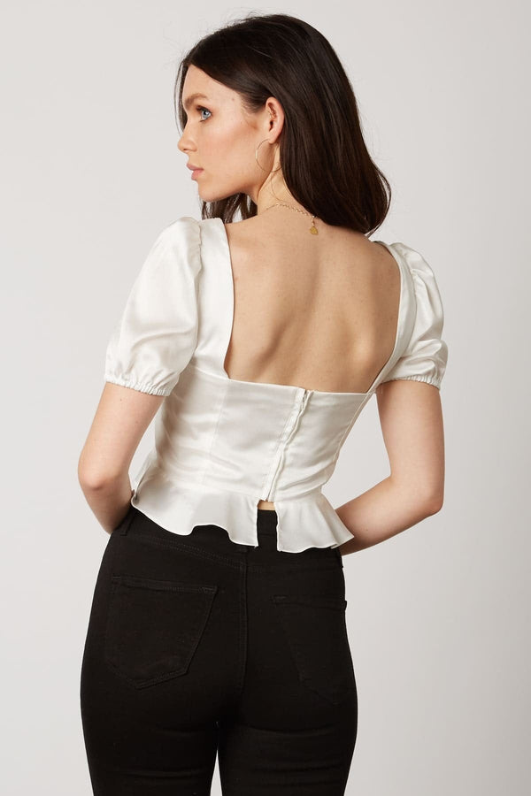 Ivory Satin Peplum Top