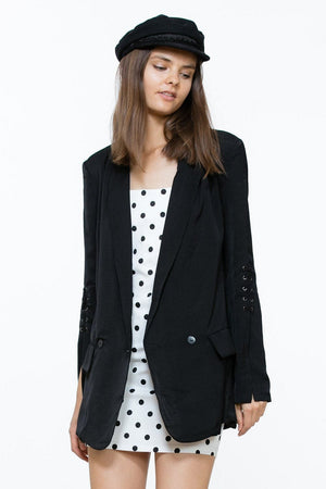 Lace Up Sleeves Blazer