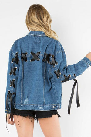 Lace Up Denim Jacket