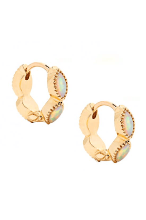 Nora Opal Huggie Earrings