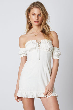 Off-Shoulder Ruffle White Dress